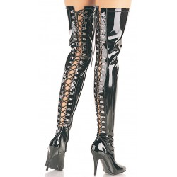 Seduce Back Lacing Black Patent Thigh High Boots Burlesque Diva Celebrate Burlesque - Costumes, Shoes, and Accessories for Performers
