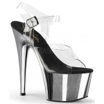 Silver Chrome Platform Clear Strap Platform Sandal at Burlesque Diva, Celebrate Burlesque - Costumes, Shoes, and Accessories for Performers