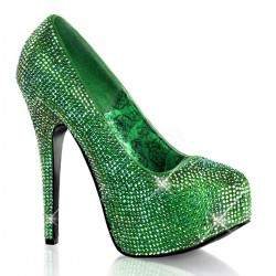 Teeze Green Iridescent Rhinestone Platform Pump Burlesque Diva Celebrate Burlesque - Costumes, Shoes, and Accessories for Performers