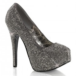 Teeze Pewter Rhinestone Platform Pump Burlesque Diva Celebrate Burlesque - Costumes, Shoes, and Accessories for Performers