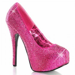 Teeze Hot Pink Rhinestone Platform Pump Burlesque Diva Celebrate Burlesque - Costumes, Shoes, and Accessories for Performers
