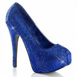 Teeze Royal Blue Rhinestone Platform Pump Burlesque Diva Celebrate Burlesque - Costumes, Shoes, and Accessories for Performers