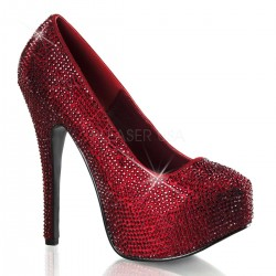 Teeze Ruby Red Rhinestone Platform Pump Burlesque Diva Celebrate Burlesque - Costumes, Shoes, and Accessories for Performers
