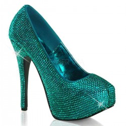 Teeze Turquoise Rhinestone Platform Pump Burlesque Diva Celebrate Burlesque - Costumes, Shoes, and Accessories for Performers