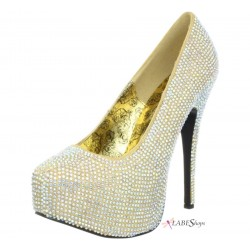 Teeze Gold Iridescent Rhinestone Platform Pump Burlesque Diva Celebrate Burlesque - Costumes, Shoes, and Accessories for Performers