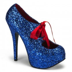 Teeze Blue Glittered Platform Pump Burlesque Diva Celebrate Burlesque - Costumes, Shoes, and Accessories for Performers