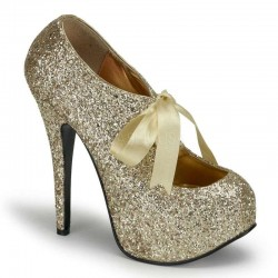 Teeze Gold Glittered Platform Pump Burlesque Diva Celebrate Burlesque - Costumes, Shoes, and Accessories for Performers
