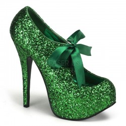 Teeze Green Glittered Platform Pump Burlesque Diva Celebrate Burlesque - Costumes, Shoes, and Accessories for Performers