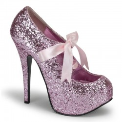Teeze Baby Pink Glittered Platform Pump Burlesque Diva Celebrate Burlesque - Costumes, Shoes, and Accessories for Performers