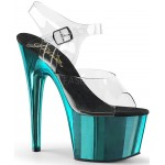Turquoise Chrome Platform Clear Strap Platform Sandal at Burlesque Diva, Celebrate Burlesque - Costumes, Shoes, and Accessories for Performers