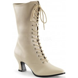 Cream Victorian Ankle Boot Burlesque Diva Celebrate Burlesque - Costumes, Shoes, and Accessories for Performers