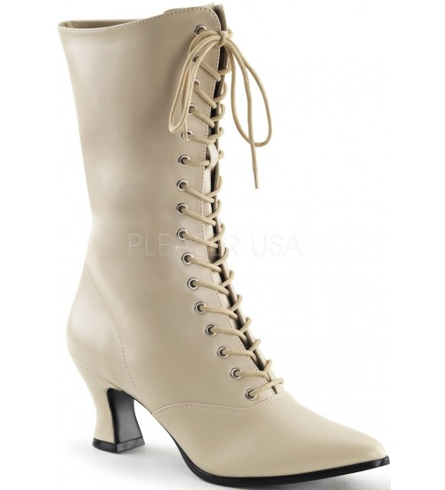 Cream Victorian Ankle Boot at Burlesque Diva, Celebrate Burlesque - Costumes, Shoes, and Accessories for Performers