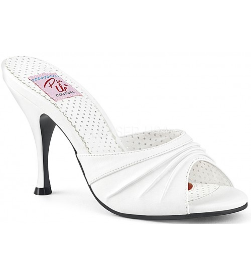 Monroe White Pleated Vamp Slide at Burlesque Diva, Celebrate Burlesque - Costumes, Shoes, and Accessories for Performers