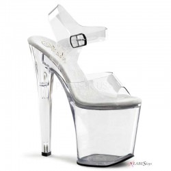 Clear Xtreme 8 Inch High Platform Sandal Burlesque Diva Celebrate Burlesque - Costumes, Shoes, and Accessories for Performers